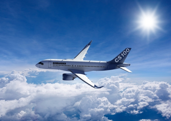 Bombardier-CS100-Flying-Above-The-Clouds